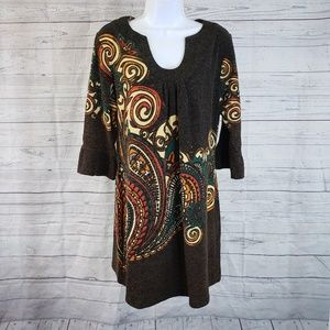 Aryeh Sweater Dress Sz large Brown Paisley